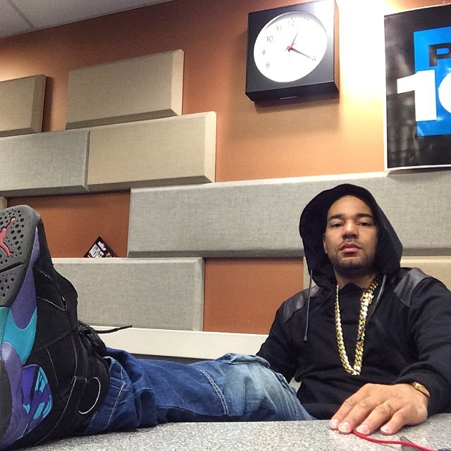 DJ Envy wearing Air Jordan VIII 8 Aqua