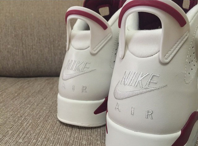 Air Jordan 6 Maroon with Nike Air (5)