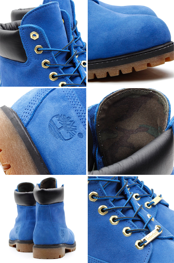 atmos x Timberland 6 inch boot in blue suede details