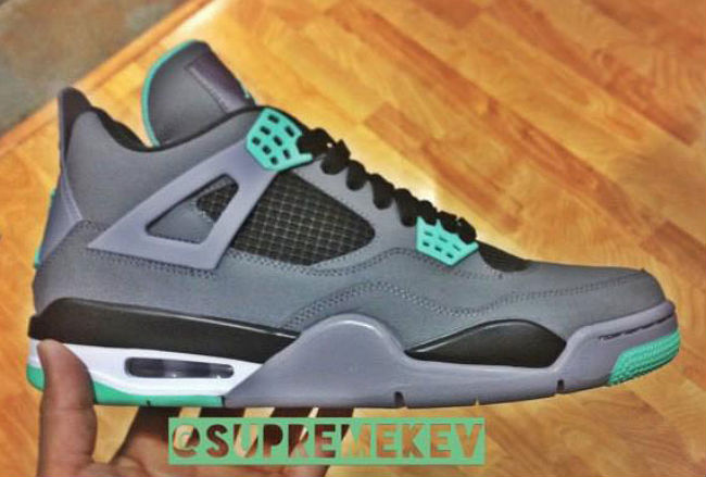 Air Jordan IV 4 Dark Grey Green Glow Cement Grey Black 308497-033