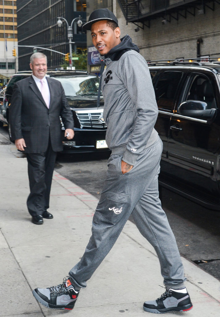 Carmelo Anthony wearing Air Jordan 1 Trek