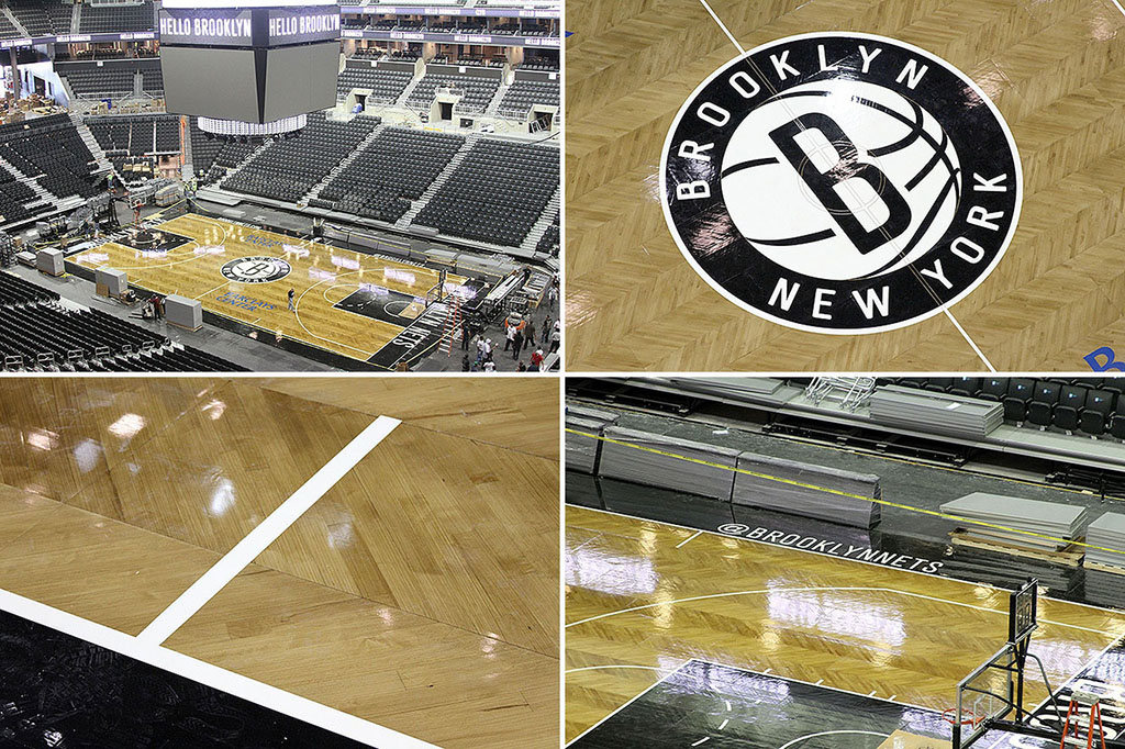Brooklyn Nets Unveil Herringbone Basketball Court Sole