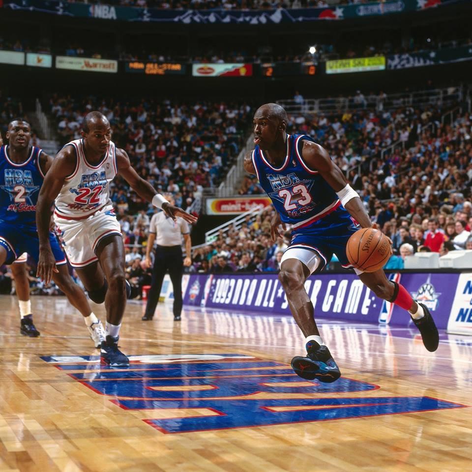 best website 10e3d b025e Michael Jordan wearing the  Aqua  Air Jordan 8 in the 1993 NBA All Star