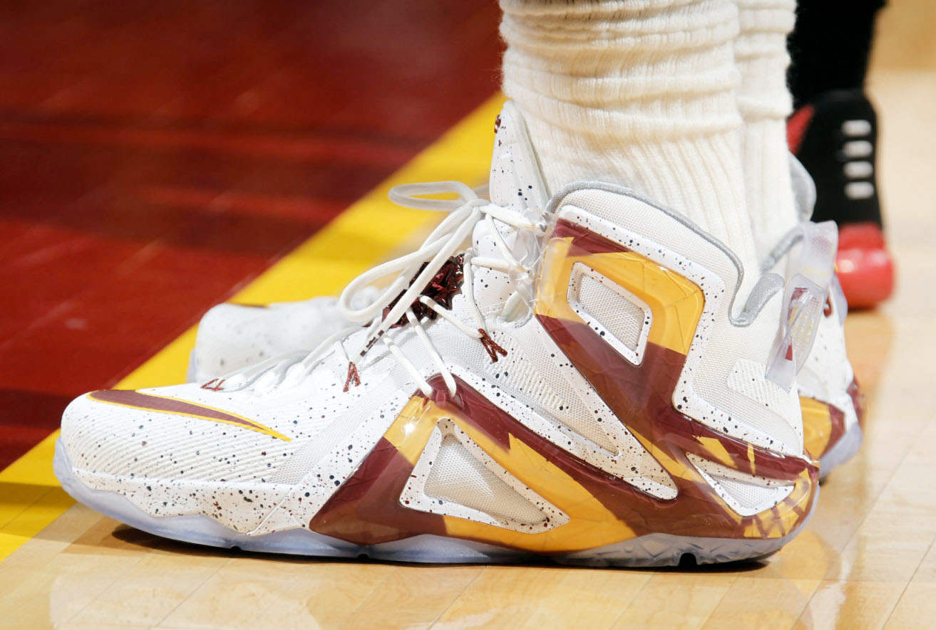 LeBron James wearing a 'Cavs' Nike LeBron XII 12 Elite PE