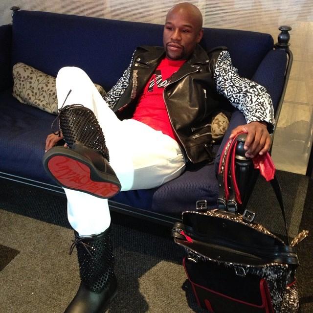 Floyd Mayweather wearing Christian Louboutin Spike Naza Boots