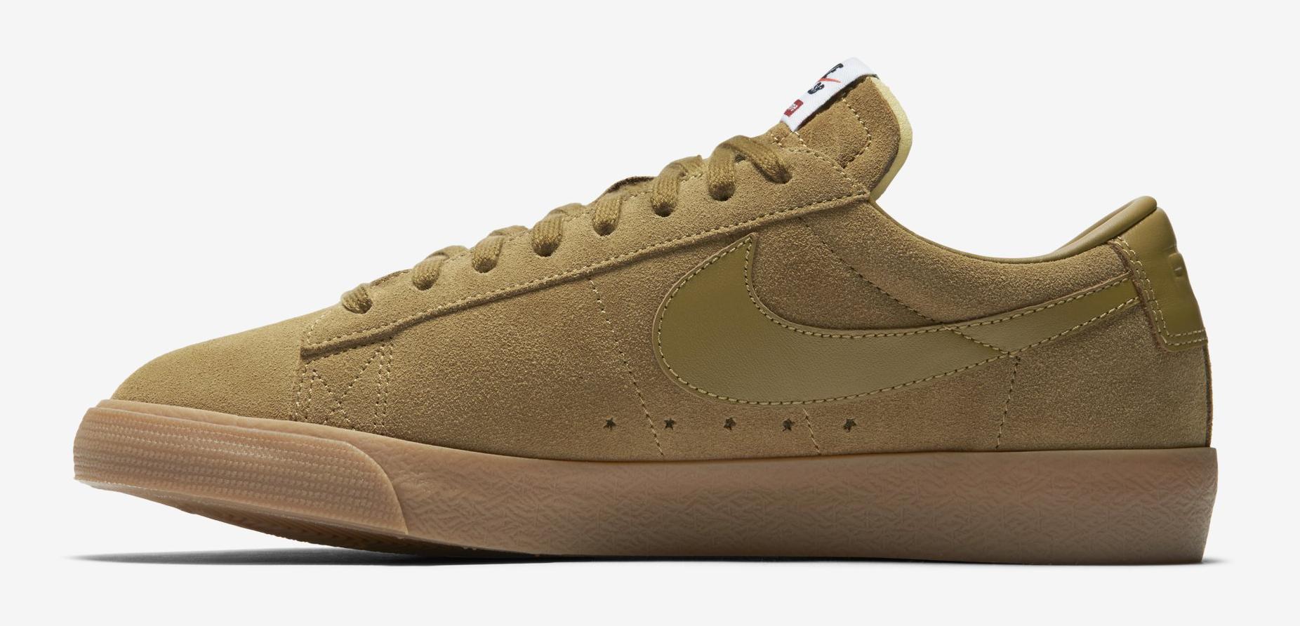 online retailer 4fc69 969e6 Supreme Nike SB Blazer Low 716890-229 Tan Medial