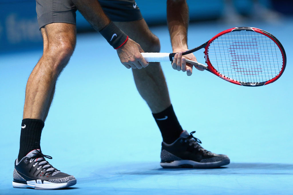 fb55c94264d1c4 SoleWatch  Roger Federer Wears  Black Cement  Nike Zoom Vapor Air ...
