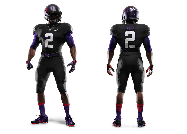 57bbf63d4482 See TCU s new uniforms in action when the Horned Frog s take on LSU at  Cowboys Stadium on Saturday