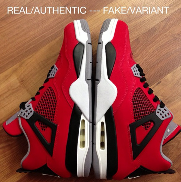 Real Vs Fake Retro 12: Fire Red/Toro Bravo