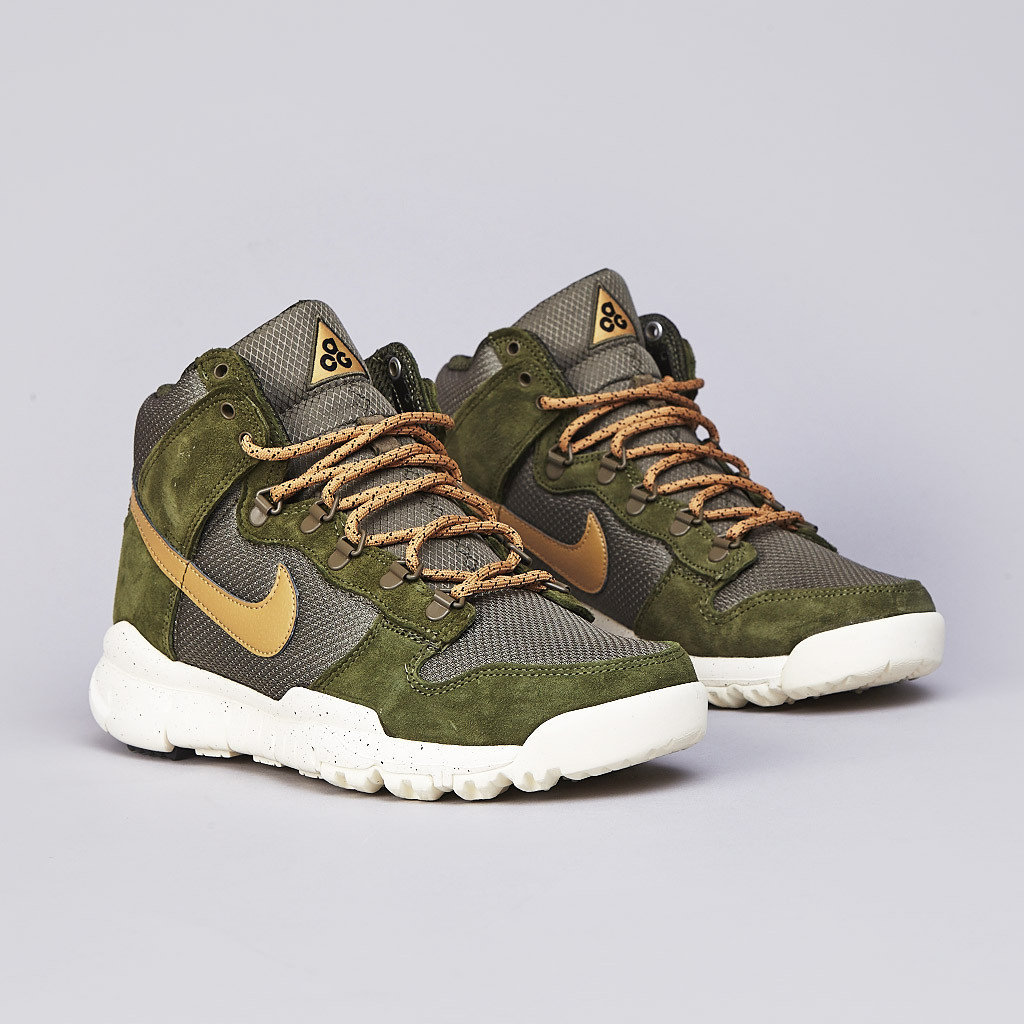 Nike Dunk High OMS Light Green Flat Gold and Medium Olive Off Mountain