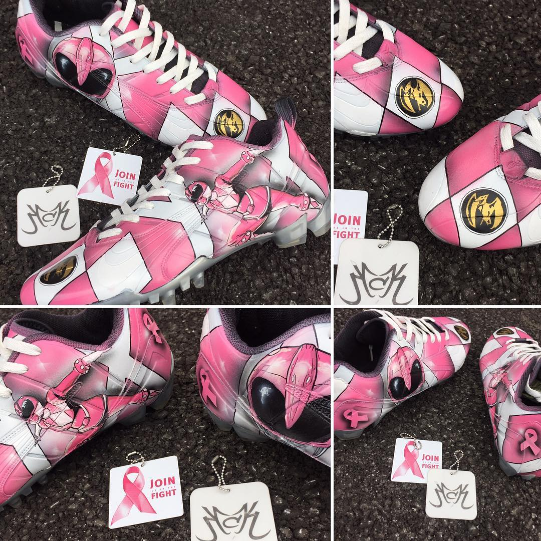 Pink Power Rangers Cleats Collage