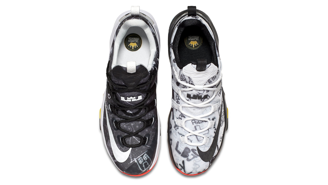 73123356ff30 Image via Nike Nike LeBron 13 Low LeBron James Foundation Graffiti Top Down  849783-999