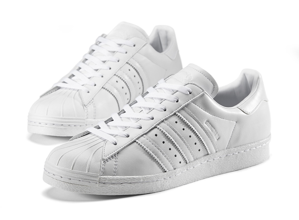 Adidas Big Kids Superstar white metallic gold blue PYS