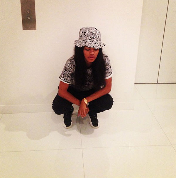Teyana Taylor wearing Air Jordan 12 XII Retro  Playoff