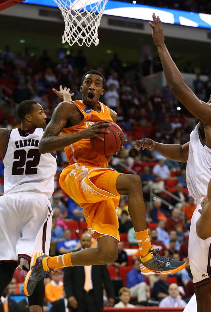 Jordan McRae wearing adidas No Mercy Tennessee