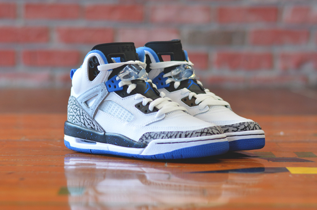 check out 5aca7 7a4c5 ... GS White Sport Blue-Black-Wolf Grey. Along with the  OG  edition, this  Jordan Spiz ike will also release.