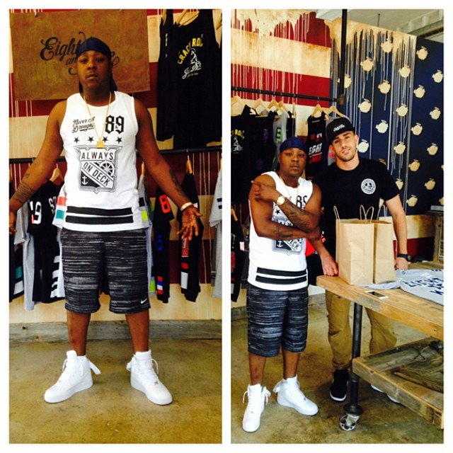 Jadakiss wearing Nike Air Force 1 Hi White