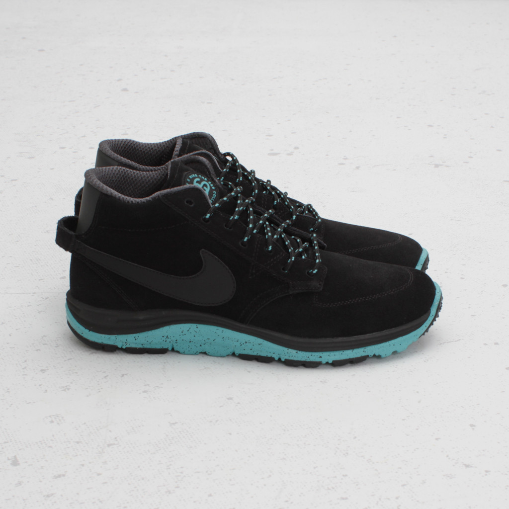 The Stussy x Nike Lunar Braata Mid OMS S&S in Black Anthracite Sport Turquoise is available now at Concepts.