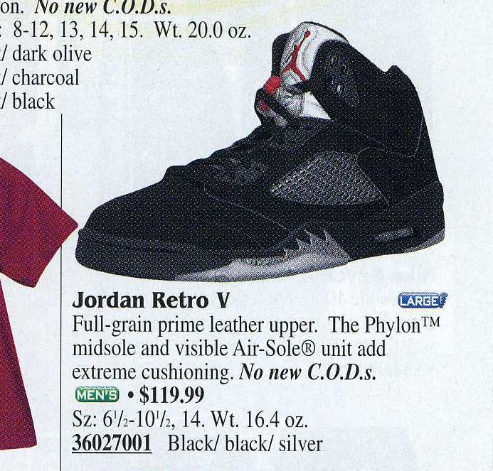 Air Jordan 5 Metallic in Eastbay 2000