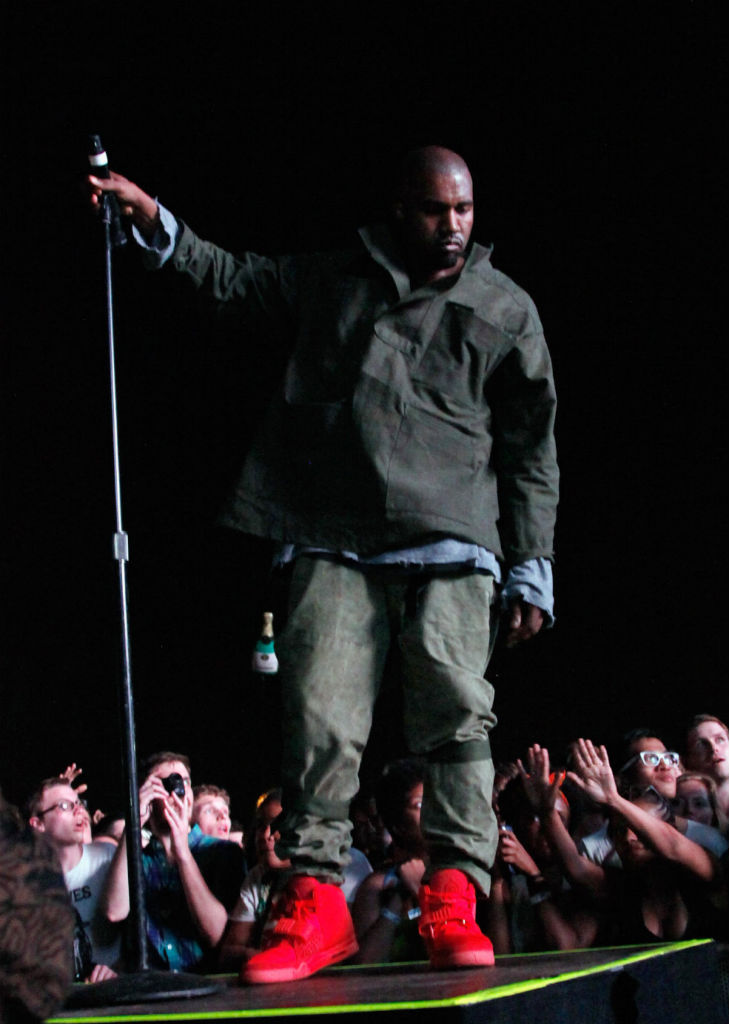 Kanye West wears Nike Air Yeezy 2 All-Red at Governor's Ball (10)