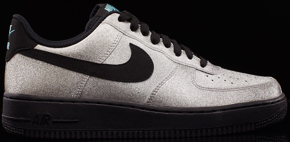 Nike Air Force 1 Low Metallic Silver/Black-Aqua