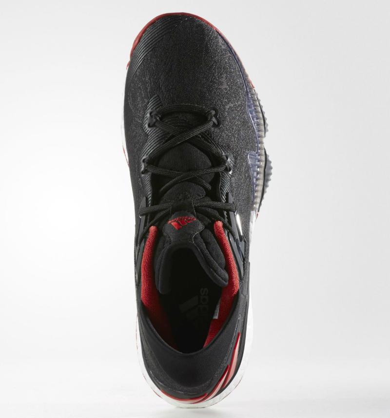 215428e42a8fa7 adidas Crazylight Boost 2016 Black Denim Red (2)