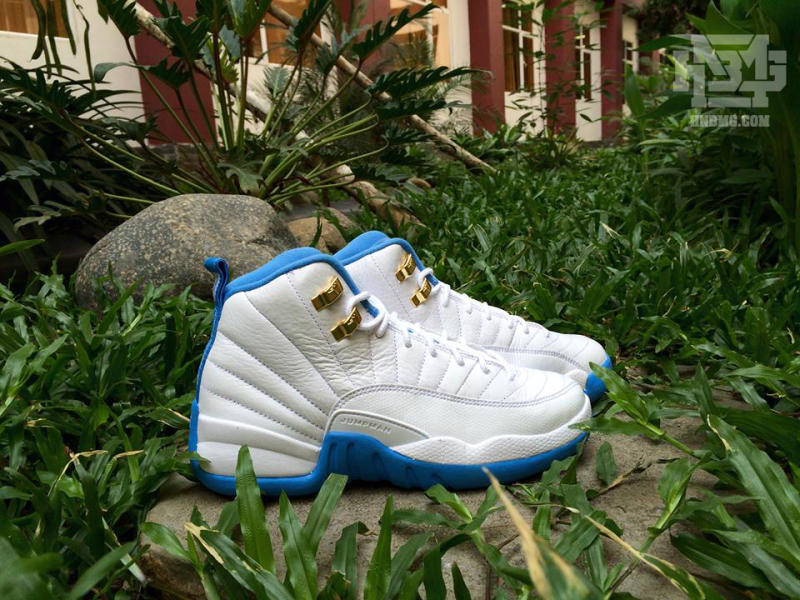 Air Jordan 12 GS White/Metallic Gold-University Blue 510815-127