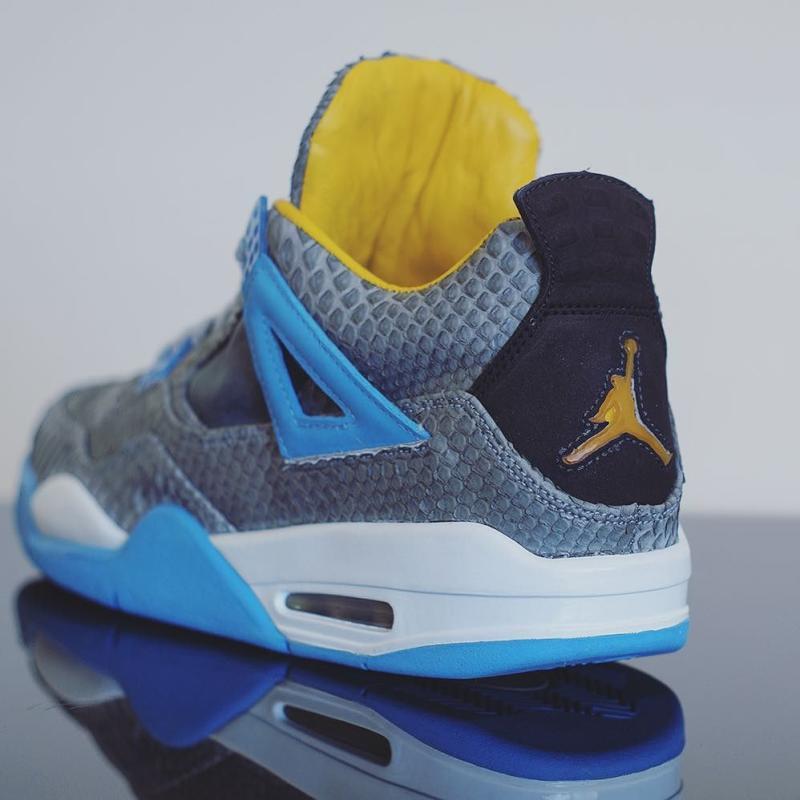 Air Jordan 4 Mist Blue Python Custom