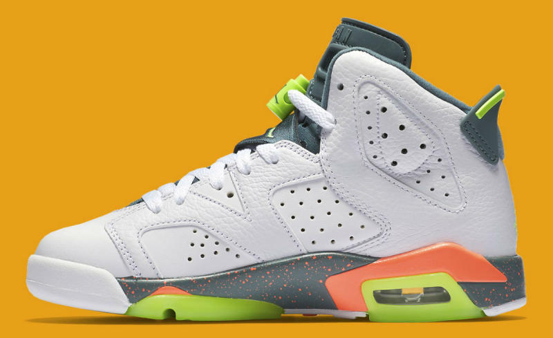 7f8e40b837e504 Air Jordan 6 Retro GS White Ghost Green-Hasta-Bright Mango 384665-