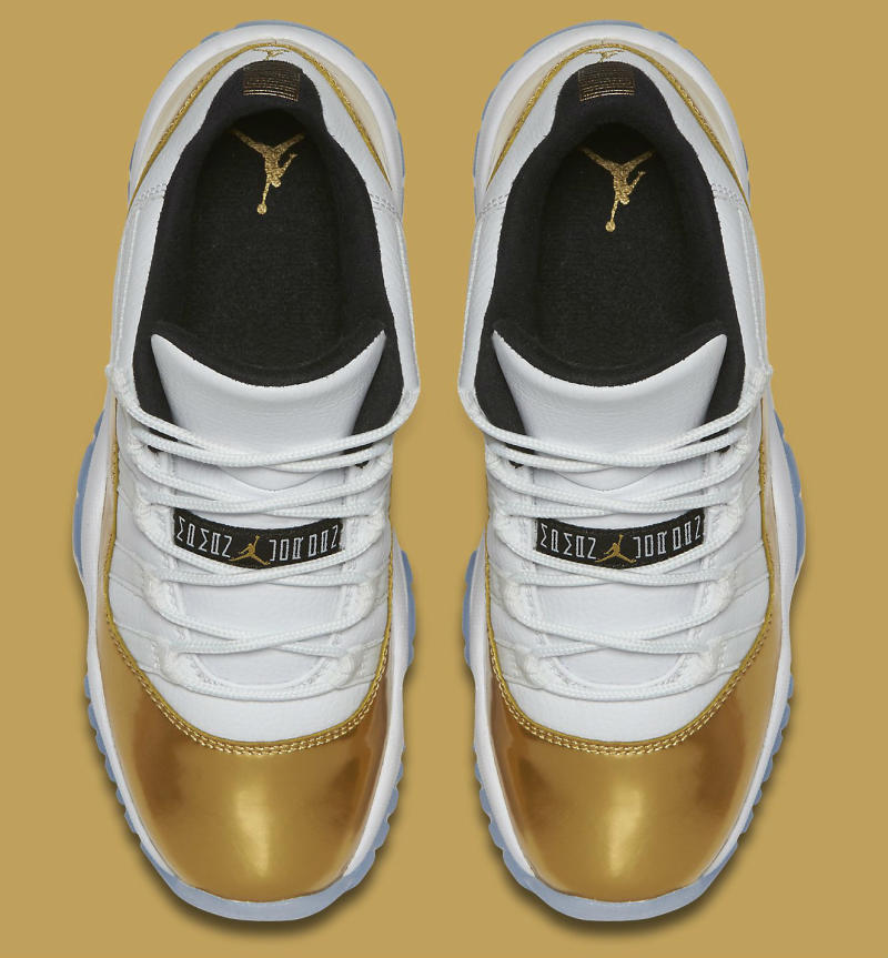 7c199fee330 Air Jordan XI 11 Low White/Gold 528896-103 (5)