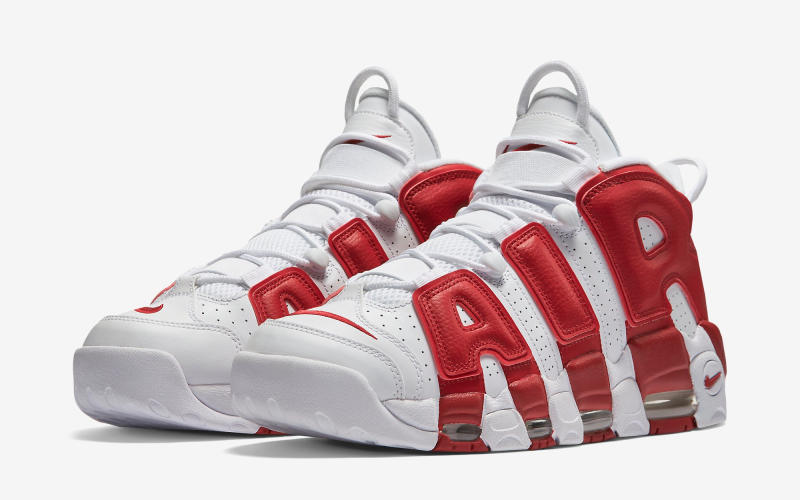 limited stock clearance; nike air more uptempo white varsity red