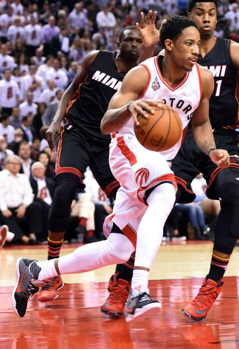 92755cb44c01 DeMar DeRozan Wearing the Tinker Hatfield
