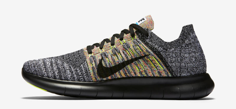 wholesale dealer a1fbf cb44b Nike Free RN Flyknit Color  Black Blue Glow Hyper Punch White Style     831069-004. Price   130