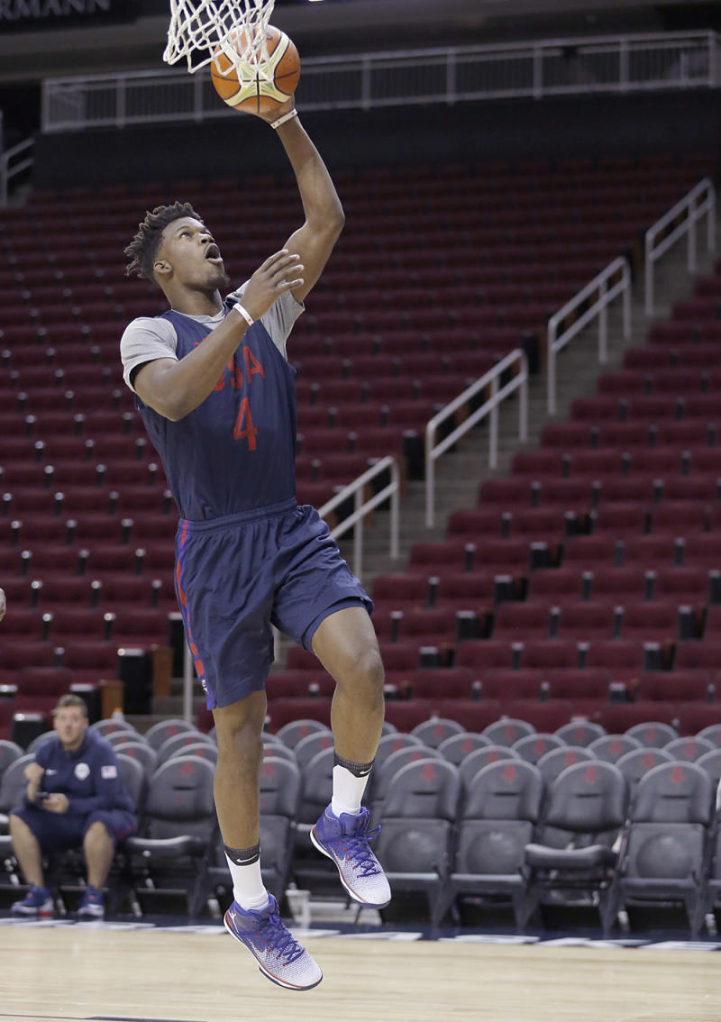 info for 55084 ffd93 Jimmy Butler Debuts New Jordans at Practice. Another red, white, and blue  ...