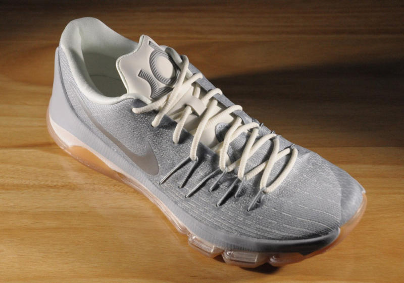 quality design 3b975 fd920 A New Nike KD 8 Colorway Surfaces. Silver uppers and gum bottoms.