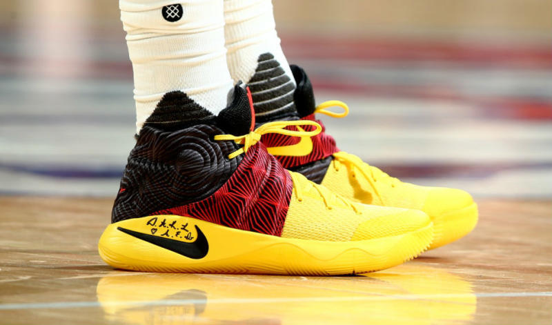 f8d053d28ee4 Kyrie Irving Wearing a Nike Kyrie 2 Black Yellow-Red PE (1)