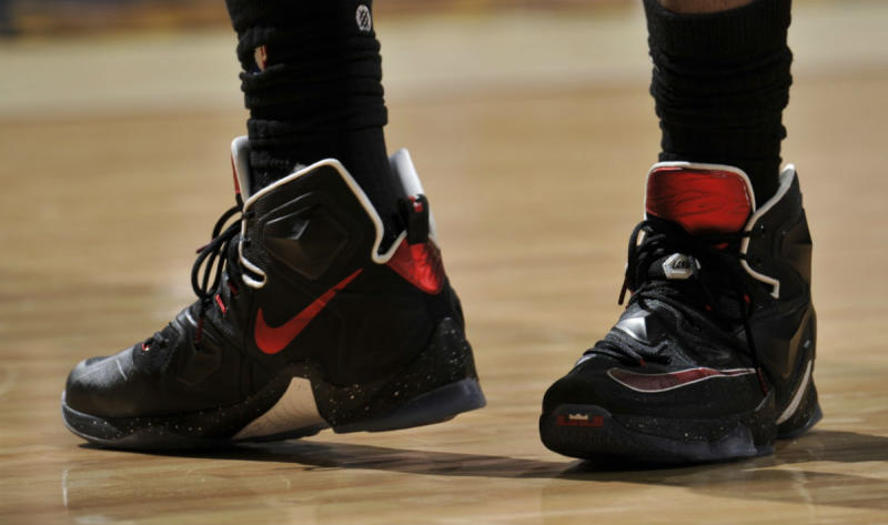 LeBron James Wearing a Black/Red-White Nike LeBron 13 PE (1)