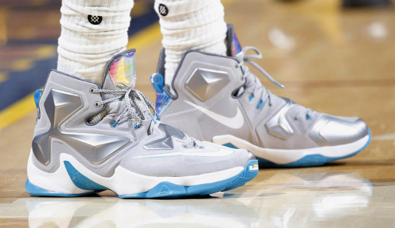 finest selection e7506 2118a ... best price lebron james wearing the blue lagoon nike lebron 13 bfe14  cdcc3