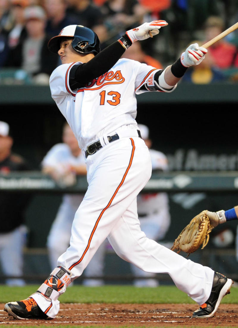 Manny Machado Wearing Black/Orange-White Air Jordan 4 Cleats