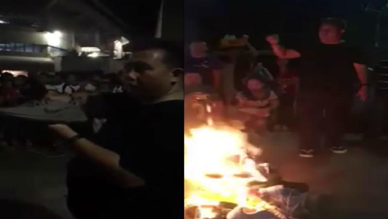 Manny Pacquiao Fans Burn Nike Shoes