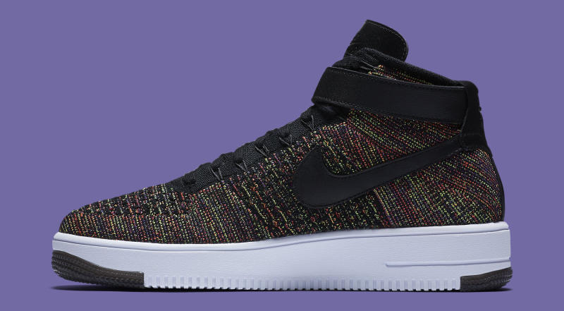nike air force 1 flyknit black & court purple