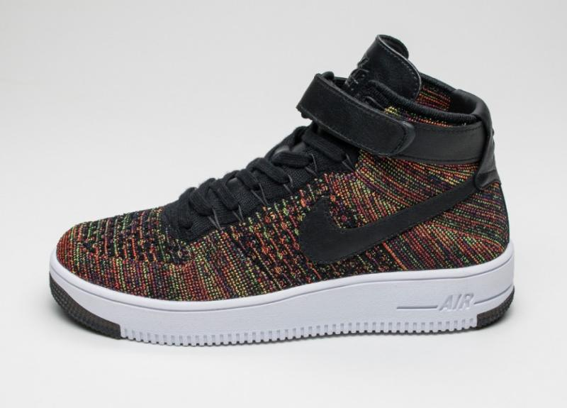 843bffd02706 Nike Air Force 1 Ultra Flyknit Mid Multicolor Black Bright Crimson ...
