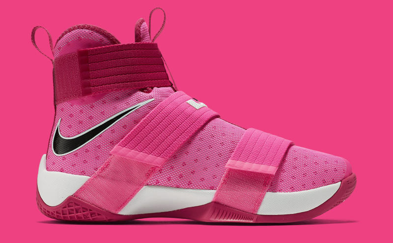 16c3370bcd2 LeBron James Thinks Pink on New Sneakers. The latest in Kay Yow colorways  on the Soldier 10.