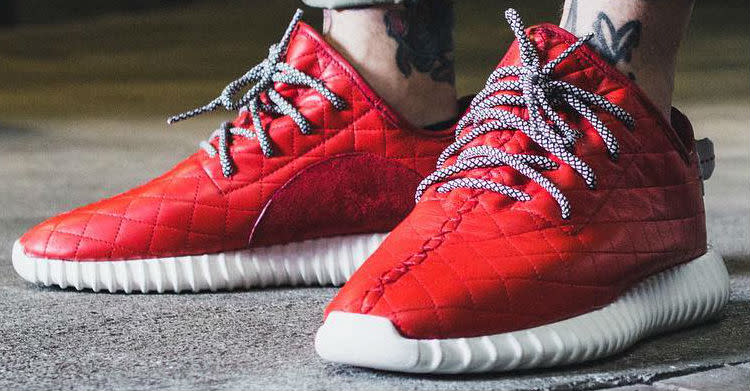 size 40 66b0c e8251 Quilted Red Leather adidas Yeezy 350 Boost by The Shoe Surgeon (2)