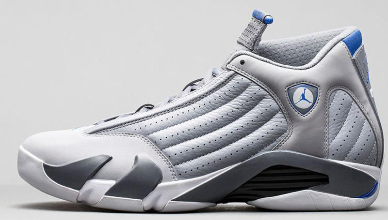 grey and blue jordan 14