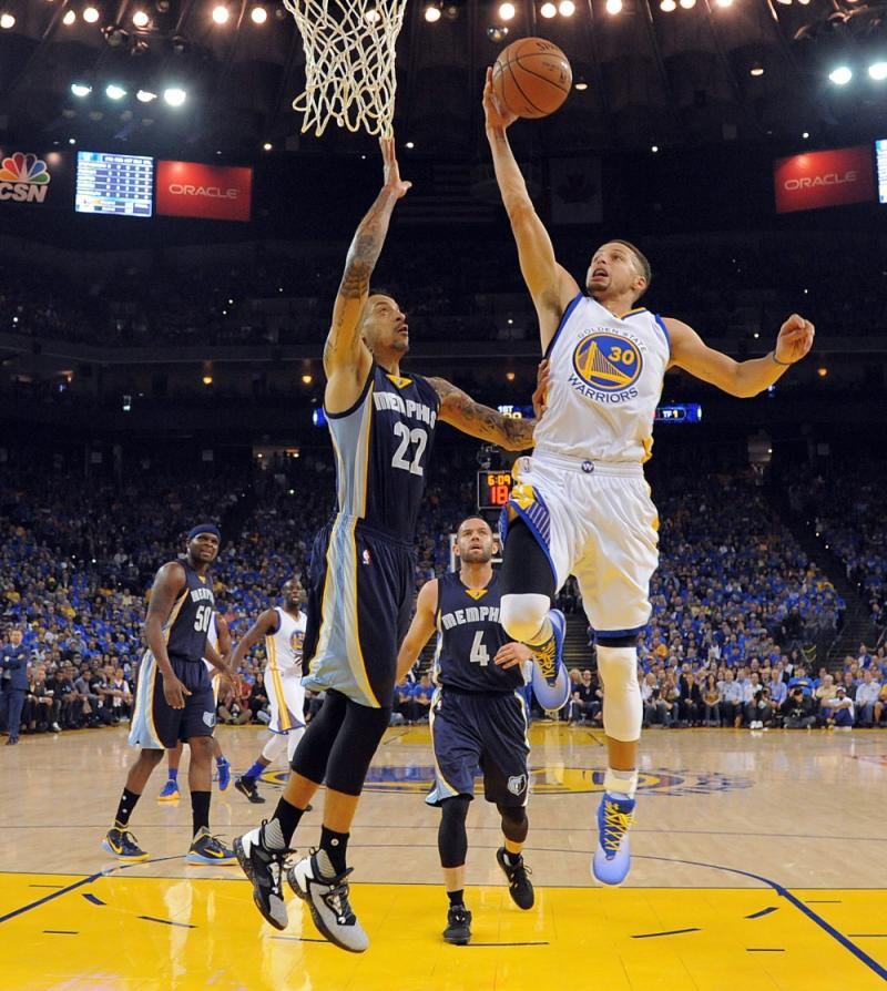Stephen Curry sports his latest shoes during Game 1 of the NBA