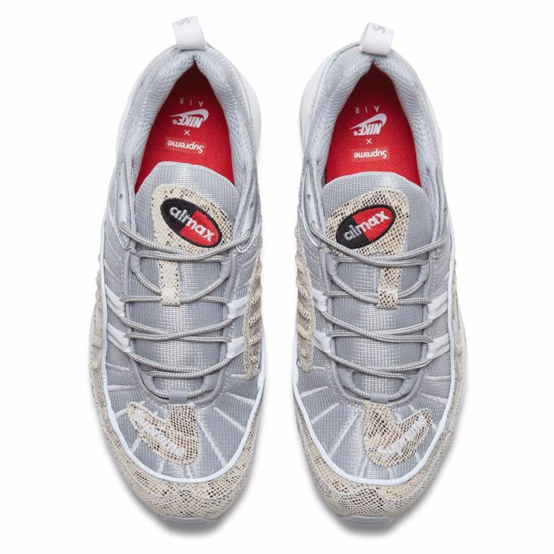 c04cfb3bf1c Supreme x Nike Air Max 98. Color  Sail Metallic Silver-Varsity Red-White  Style    844694-100