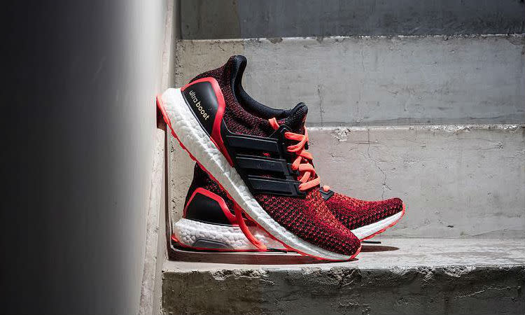 Adidas Ultra Boost Black Solar Red Sole Collector