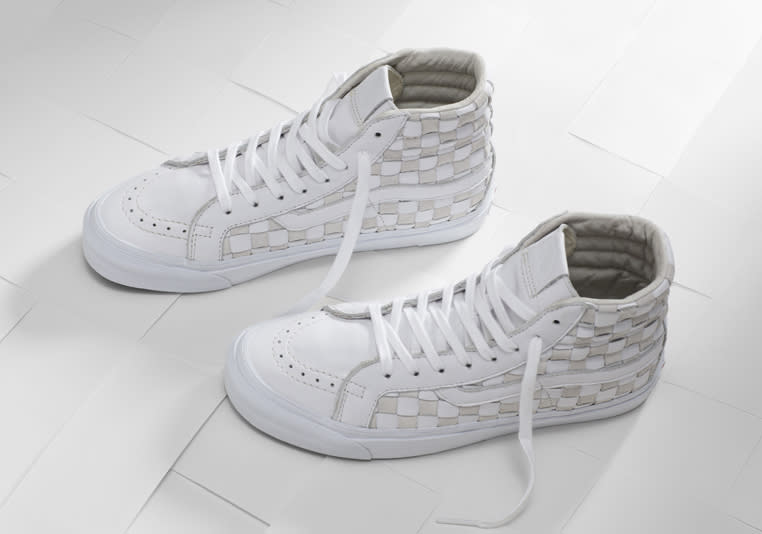 b391c35d69 Vans Checkerboard Leather Woven Sneakers