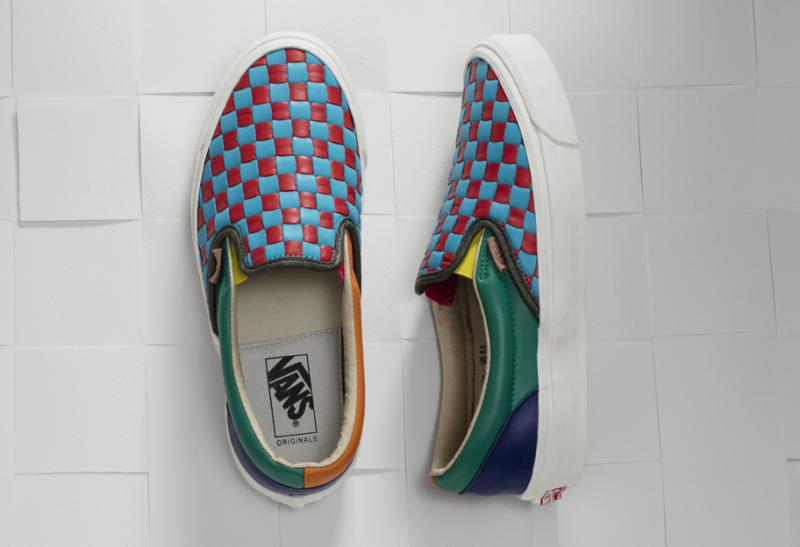 vans slip on checkerboard leather